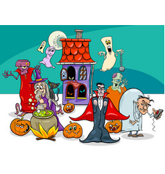 Halloween holiday cartoon characters group vector