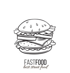 hamburger icon outline vector image