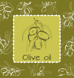 hand-drawn logo of olives vector image