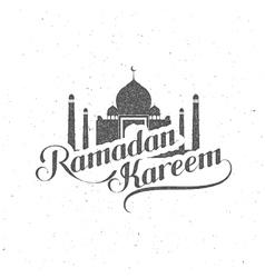 handwritten Ramadan Kareem retro label vector image