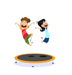 happy cartoon boy and girl jumping vector image