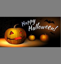 Happy halloween with bat and pumpkin vector