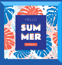 hello summer web banner tropical leaves vector image