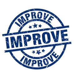 Improve blue round grunge stamp vector