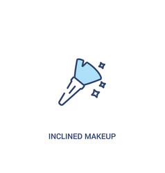 Inclined makeup brush concept 2 colored icon vector