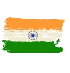 India flag painted by brush hand paints vector