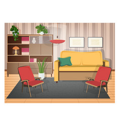 Interior of living room furnished with retro vector