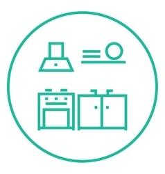 Kitchen interior line icon vector