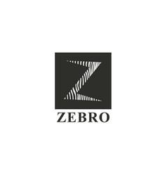 letter z monochrome zebra logo template vector image