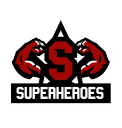 logo superhero muscular arms the letter vector image