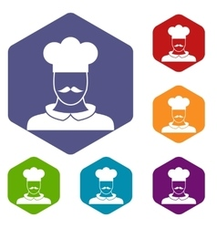 Male chef cook icons set vector image