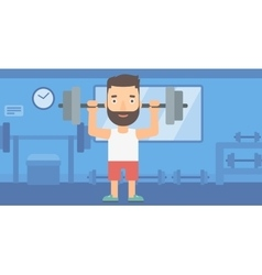 Man lifting barbell vector