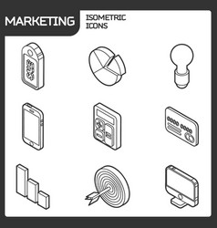 marketing outline isometric icons vector image