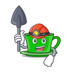 Miner green tea mascot cartoon vector
