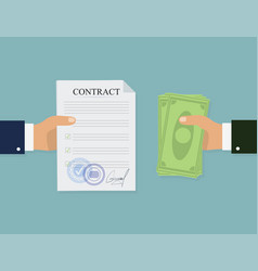 Money contract in flat style business concept vector