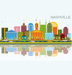 nashville skyline with color buildings blue sky vector image