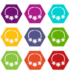 Necklace star icons set 9 vector