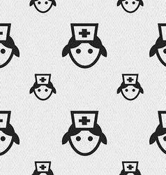 Nurse icon sign seamless pattern with geometric vector