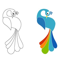 Peacock coloring page Isolated vector image
