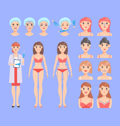 plastic surgery body operation beautiful vector image