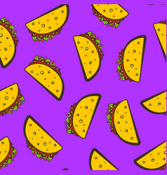 purple pattern with cute cartoon mexican taco vector image