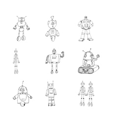 Robot doodles set vector