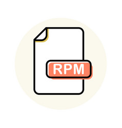 Rpm file format extension color line icon vector
