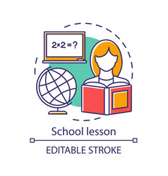 School lesson learning process concept icon vector