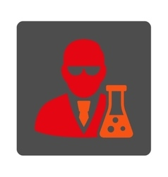 Scientist With Flask Rounded Square Button vector image