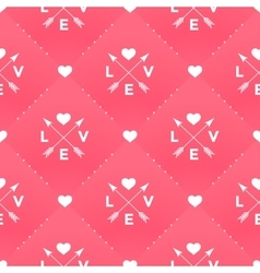 Seamless white pattern with Love heart and arrow vector