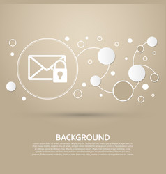 Secret mail icon on a brown background with vector