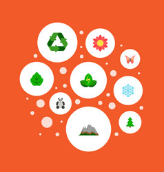 set of eco icons flat style symbols with snowflake vector image