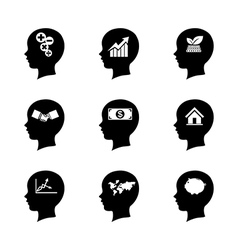 Set of people head icon thinking of the vector image