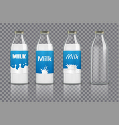 set of realistic glass bottles with milk and vector image