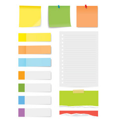 set of sticky note and torn paper sheets isolated vector image
