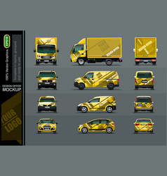 set of yellow cars in tree position for the vector image