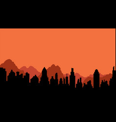 silhouette of city and mountains vector image