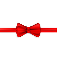 silk red ribbon with a bow realistic red bow tie vector image