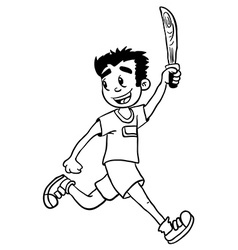 simple black and white boy with wooden sword vector image