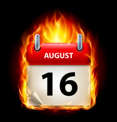 sixteenth august in calendar burning icon on vector image