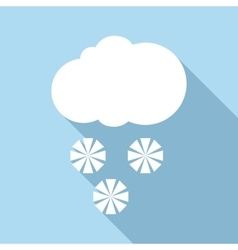 Snow with cloud icon flat style vector
