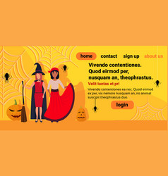 Two women wearing witch pirate costumes spider web vector