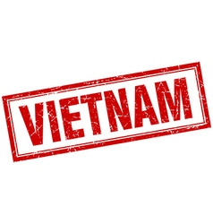 Vietnam red square grunge stamp on white vector