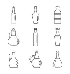 vinegar bottle icons set outline style vector image