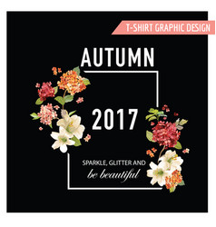 vintage autumn and summer flowers graphic vector image