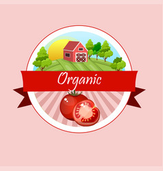 Vintage poster template for tomato label vector