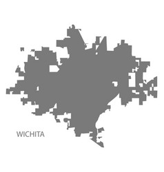wichita kansas city map grey silhouette shape vector image