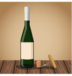 wine bottle design on wooden table vector image