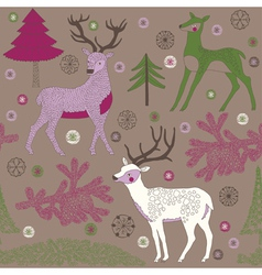 winter deers vector image