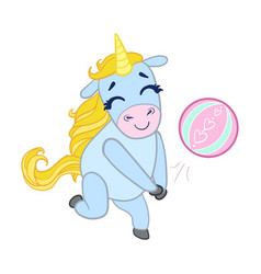 cartoon light blue unicorn playing with a ball vector image vector image